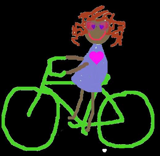 children's illustration of girl on bike